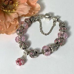 Jewelry - Beautiful Light Pink European Style Charm Bracelet